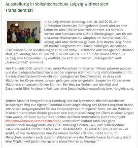 Transsexualität, Leipzig, Fotoprojekt