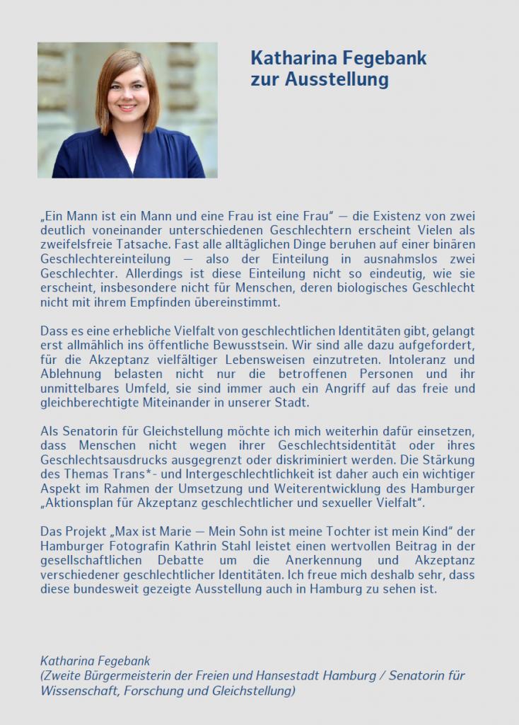 """Katharina Fegebank eröffnet die Ausstellung """"Max ist Marie"""""""